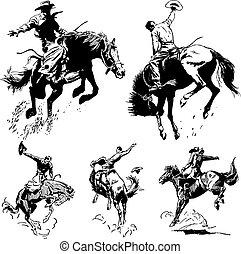 vettore, vendemmia, rodeo, grafica