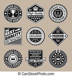 vettore, vendemmia, set, qualità, tesserati magnetici