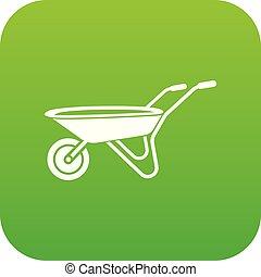 vettore, verde, carriola, icona