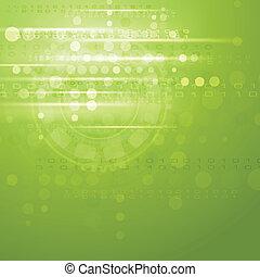 vettore, verde, ciao-tecnologia, fondo
