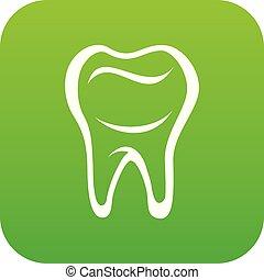 vettore, verde, dente, icona