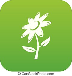 vettore, verde, fiore, icona