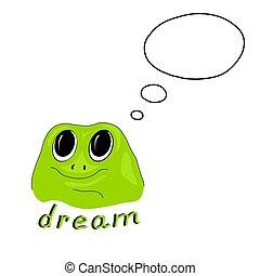 vettore, verde, illustrazione, rana