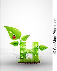 vettore, verde, lettera, fondo