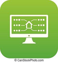 vettore, verde, monitor, icona
