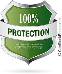 vettore, verde, scudo, protezione, icona