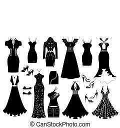 vettore, vestire, donna, white.fashion, vestiti