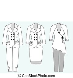 vettore, vestire, donna, white.fashion, vestiti