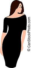 vettore, vestire, fondo., bianco, donna nera, illustrazione