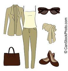 vettore, vestiti, set, accessori, donne