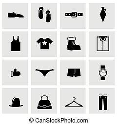 vettore, vestiti, set, nero, icona