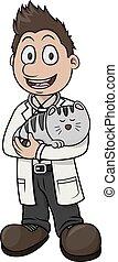 vettore, veterinario, cartone animato