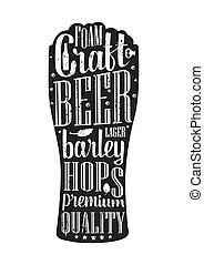 vettore, vetro, isolato, birra, bianco, vendemmia, incisione, illustration., fondo.