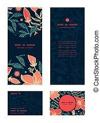vettore, vibrante, tropicale, ibisco, fiori, verticale,...
