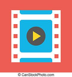 vettore, video, incorniciare icona