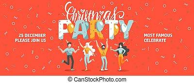 vettore, vino., iscrizione, divertente, biglietto, anno, natale, nuovo, bere, text., festa, ballo, invito, sagoma, bandiera, persone