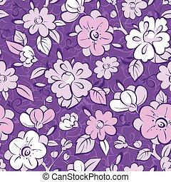 vettore, viola, modello, seamless, florals, chimono, fondo