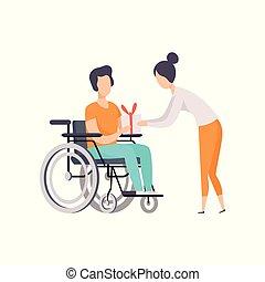 vettore, vita, donna, carrozzella, dare, giovane, illustrazione, invalido, persona, pieno, fondo, bianco, godere, presente, uomo