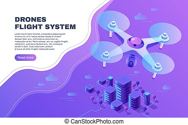 vettore, volo, o, aereo, sopra, digitale, quadcopter, volare, foto, consegna, città, copter, illustrazione, sorveglianza, intrattenimento, fuco