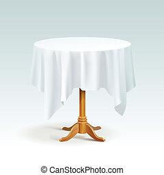 vettore, vuoto, legno, tavola rotonda, con, tovaglia