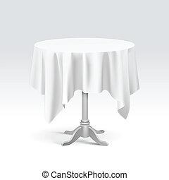 vettore, vuoto, tavola rotonda, con, tovaglia