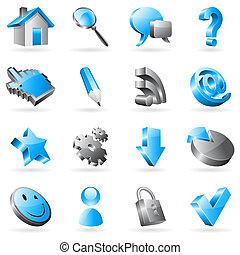 vettore, web, icons.