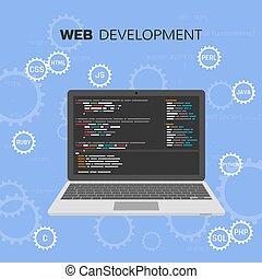 vettore, web, testing., development., concetto, programmazione, languages., infographic, coding., software