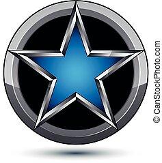 vettore, web, uso, grafico, lucidato, blu, icona, festivo, eps8., isolato, argenteo, stilizzato, pentagonale, fondo, argento, arrotondato, bianco, simbolo, geometrico, meglio, design.