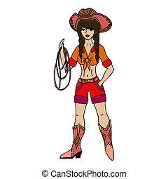 vettore, wh, lasso., brunetta, illustration., isolato, cowgirl