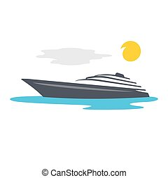 vettore, yacht, cartone animato, illustration.