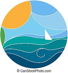 vettore, yacht, illustrazione, navigazione
