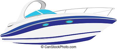 vettore, yacht, illustrazione