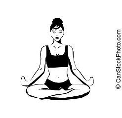 vettore, yoga, illustrazione