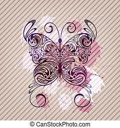 vettore, zebrato, farfalla, fondo, schizzi