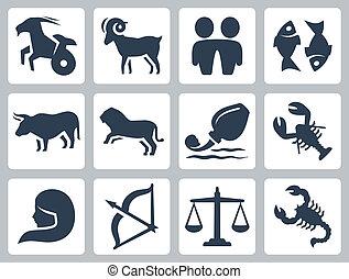 vettore, zodiaco, set, segni, icone