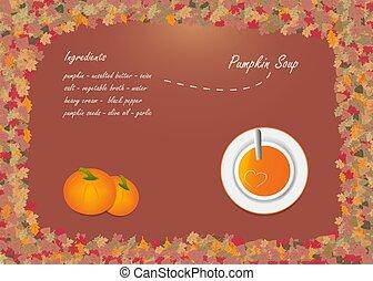 vettore, zucca, autunno, minestra, disegno, concetto