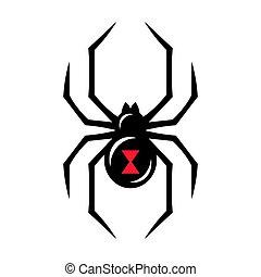 veuve, noir, araignés, icône