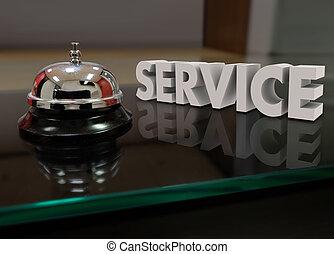 vevőszolgálat, csengő, segítség, udvariasság, íróasztal, elülső