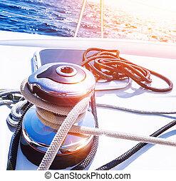 vev, handtag, av, segelbåt