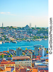 Istanbul and the Golden Horn inlet - Vew of Istanbul and the...