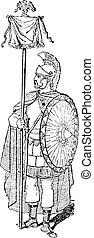 Vexillum, shown is a Roman Soldier holding a Vexillum with an Eagle Symbol, vintage engraved illustration. Dictionary of Words and Things - Larive and Fleury - 1895