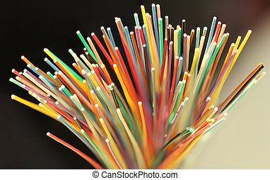vezel, netwerk, kabel, op, optisch, afsluiten