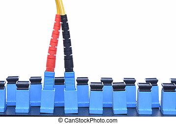 vezel, optisch, netwerk, kabel, met, optisch, verdeling, frame