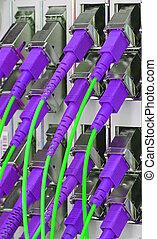vezel, optisch, netwerk, kabels, lap paneel op