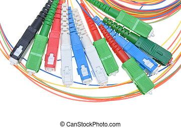 vezel optisch, schakelaars, en, kabels