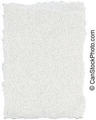 vezel, randen, gescheurd, -, textuur, papier, witte
