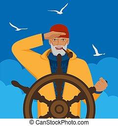 vezetés, álló, távolság, csónakázik, lát, halász