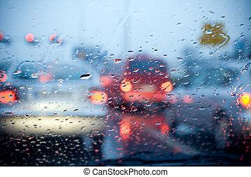 vezetés, állati tüdő, piros autó, eső, életlen, megrohamoz
