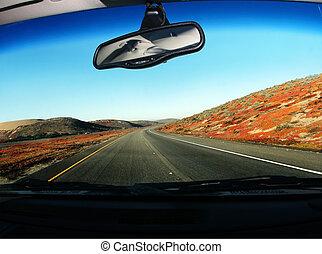 vezetés, út