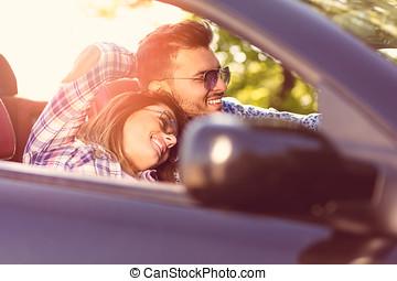 vezetés, autó, összekapcsol naplemente, átváltható, felett, boldog